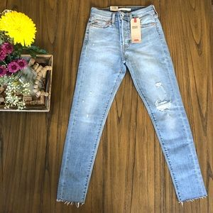 Levi's wedgie skinny high rise distressed jeans